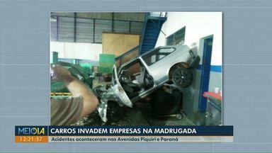 Duas empresas são invadidas por carros em Cascavel - Acidentes aconteceram na Avenida Piquiri e na rua Paraná durante a madrugada.