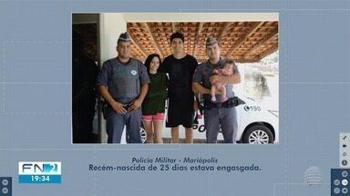 Policiais militares salvam bebê de engasgamento em Mariápolis - Ocorrência foi registrada neste sábado (14).