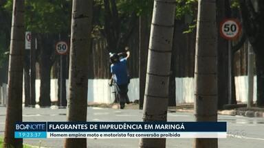 Homem é flagrado empinando moto em avenida de Maringá - Infração é gravíssima; são sete pontos na CNH, suspensão da carteira e multa de R$ 293