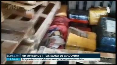 PRF apreende 1 tonelada de maconha em Guarapuava - Droga estava no meio de carga de madeira.