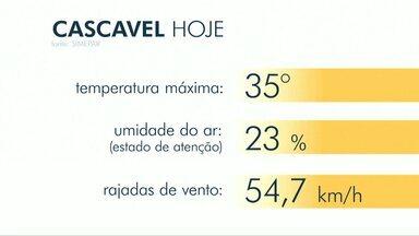 Calor e secura marcam o início da semana no oeste do estado - Frente fria pode provocar chuva isolada no sul do Paraná.