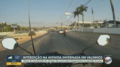 Trecho da Avenida Invernada em Valinhos será interditado para obras - Obras de canalização do córrego são para evitar alagamentos em períodos chuvosos.