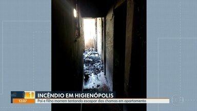 Pai e filho morrem tentando escapar de incêndio em apartamento em Higienópolis, Zona Norte - Pai e o filho. um bebê de pouco mais de um ano, morreram tentando escapar de incêndio em um apartamento em Higienópolis, Zona Norte. A família é de imigrantes angolanos.