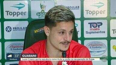 Lucas Crispim ganha sequência como titular e confia na recuperação do Bugre - Guarani vai receber o Paraná no sábado (21) pela série B.