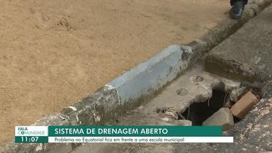 Fala Comunidade: morador denuncia sistema de drenagem aberto em Boa Vista - Morador teme que estudantes de uma escola municipal que fica em frente ao buraco se acidentem no local.