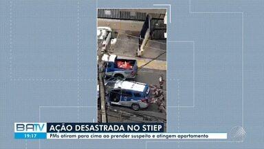 PMs atiram para o alto ao tentar conter homem e disparo atinge apartamento em Salvador - Caso ocorreu no bairro do Stiep e foi registrado em vídeo.