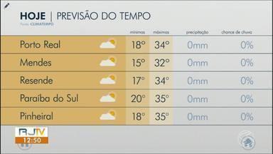 Quarta-feira será de calor e sol no Sul do Rio - Massa de ar seco segue atuando. Não há previsão de chuva.