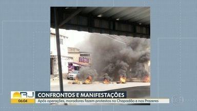 Moradores fazem protestos após operações em comunidades do Rio - No Morro dos Prazeres, dois homens foram baleados. Na Zona Norte, também teve tiroteio no Complexo do Chapadão.