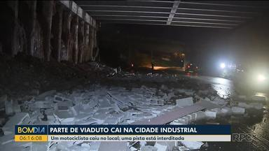 Chuva pode ter causado queda de parte de viaduto em Curitiba - Viaduto fica na Cidade Industrial.
