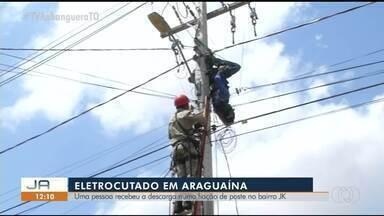 Homem recebe descarga elétrica em poste e é socorrido pelos Bombeiros - Homem recebe descarga elétrica em poste e é socorrido pelos Bombeiros