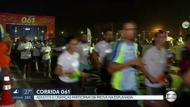 Adultos e crianças participaram da Corrida 061 na Esplanada - A prova, uma parceria entre o Sesc e a Rede Globo, reuniu dois mil atletas nesse sábado.