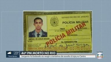 Sargento da PM morre depois de ser baleado ao reagir a tentativa de assalto, no Centro - Bandidos anunciaram o assalto em uma loja, na rua Frei Caneca, e o policial militar Rafael de Jesus Souza, de 39 anos, reagiu.