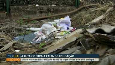 Morador reclama do lixo perto do Refúgio Biológico - Do mesmo bairro vem também um bom exemplo.