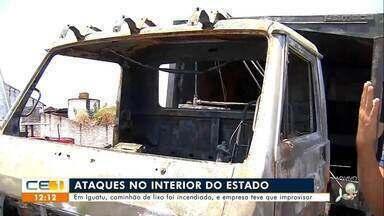 Em Iguatu, caminhão de lixo foi incendiado - Saiba mais no g1.com.br/ce
