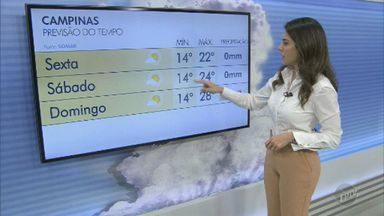 Confira a previsão do tempo para a região de Campinas nesta sexta-feira (27) - Incidência de chuva diminui e sol deve voltar a aparecer durante o dia; máximas chegam a 25º C.