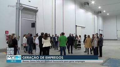 Romeu Zema cumpre agenda no Campo das Vertentes - Durante inauguração de fábrica de laticínios Porto Alegre em Antônio Carlos, governador falou sobre desburocratização na instalação de empresas em Minas Gerais.