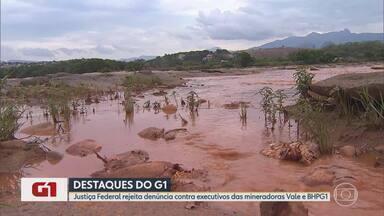 G1 no BDMG: Juiz rejeita denúncia contra executivos da Vale e BHP por desastre da Samarco - Magistrado de Ponte Nova levou em consideração argumentos do TRF1, que já havia trancado ação contra três conselheiros da Samarco. MPF disse que vai recorrer.