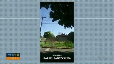 Mulher é flagrada jogando lixo em bueiro em Paranavaí - Telespectador registrou momento neste sábado (28) de manhã.