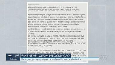 Mensagens falsas sobre assassinatos de mulheres circulam em Itanhaém - Moradores estão preocupados com as notícias falsas sobre os crimes.