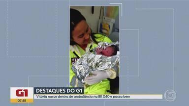 G1 no BDMG: A caminho da maternidade, mulher dá à luz na BR-040, na Região Central de MG - Parto da garotinha Ágata Vitória foi feito dentro de ambulância. Mãe e filha passam bem.