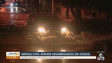 Defesa Civil atende famílias afetas por chuva em Manaus - Muitas famílias perderam tudo na chuva.