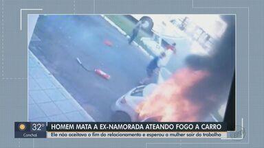 Homem mata a ex-namorada ateando fogo no carro dela em Pirassunga - Ele não aceitava o fim do relacionamento. Crime aconteceu após mulher sair do trabalho.