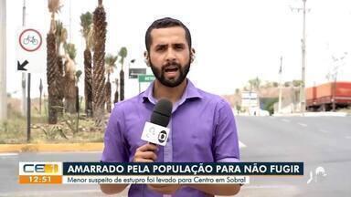 Menor suspeito de estupro é amarrado pela população em Sobral - Saiba mais no g1.com.br/ce