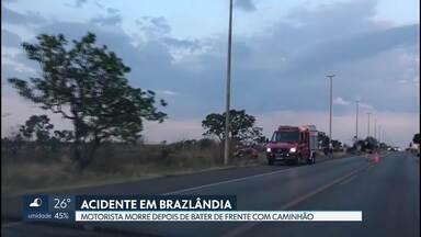 Motorista morre em acidente na BR-080 - O carro em que a vítima estava bateu de frente com um caminhão de bebidas. O acidente foi no km 7, no sentido Brazlândia.