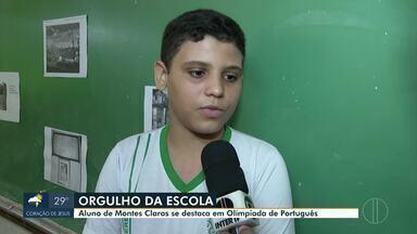 Aluno de Montes Claros se destaca em Olimpíada de Português - Felipe Silva Rodrigues, de 13 anos, escreveu redação após conhecer a Fazenda Quebradas, onde atualmente é o Parque da Lapa Grande. O aluno foi premiado por professores e diretoria.