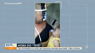 Vídeo: pai usa a criatividade para amamentar o filho e fica famoso nas redes sociais - Ele colocou a foto da mãe da criança no rosto e prendeu a mamadeira no corpo para simular o momento da amamentação.