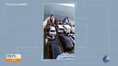 Equipe do BMD faz travessia no ferry boat e recebe reclamações dos passageiros - Entre os problemas do sistema marítimo citados pelos clientes, estão filas enormes, espera para embarcar, sujeira, calor, entre outros.