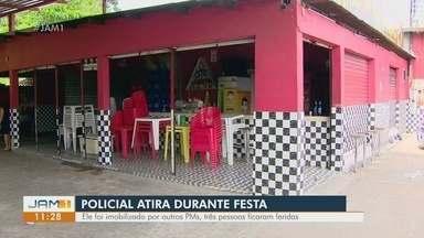 Policial atira durante festa de aniversário em Manaus - Ele foi imobilizado por outros PM, três pessoas ficaram feridas.