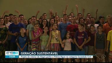 Projeto de Alegre ganha prêmio Biguá na categoria Sociedade Civil, no ES - Projeto 'Geração Sustentável' fica na região de Feliz Lembrança.