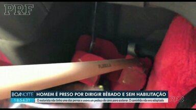 Homem sem uma perna foi preso por dirigir bêbado e sem habilitação - O motorista usava um pedaço de cano para acelerar. O caminhão não era adaptado.