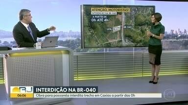 Trecho da BR-040 será interditado nesta sexta (4) - Obras na altura de Caxias são o motivo do fechamento.
