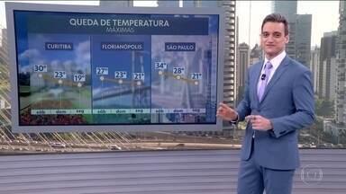 Temperaturas despencam no centro-sul do país a partir de domingo (6) - Entre amanhã (5) e segunda-feira (7), São Paulo vai registrar queda de 13° nas máximas