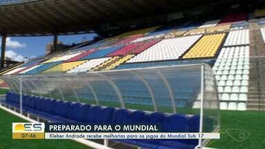 Estádio Kleber Andrade recebe melhorias para os jogos do Mundial Sub-17 - Investimento é de R$ 12 milhões.