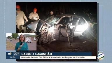 Homem de 51 anos morre após colidir carro com caminhão em Corumbá - Homem de 51 anos morre após colidir carro com caminhão em Corumbá