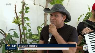 Cantor Geninho Batalha se apresenta em Petrolina - O artista deu uma amostra do show no GR1