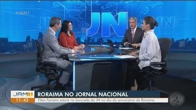 Ellen Ferreira apresenta o jornal Nacional deste sábado (5) - Ele representa o estado de Roraima.