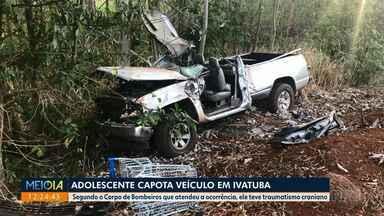 Adolescente capota veículo em Ivatuba - Segundo o Corpo de Bombeiros que atendeu a ocorrência, ele teve traumatismo craniano