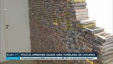 Quase uma tonelada de cocaína é apreendida - A droga estava em uma van, que passava pela BR-376, em São José dos Pinhais