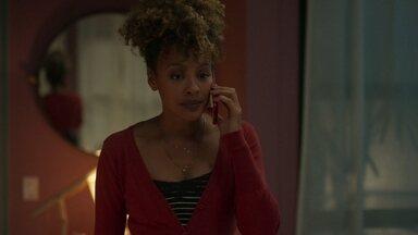 Gisele pede a Diogo para não fazer nada contra Mário - Ela se preocupa ao saber que Mário está no Chapeleiro Maluco e liga para o amante