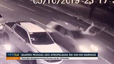 Quatro pessoas são atropeladas em menos de 24 horas em Maringá - Dois atropelamentos foram na avenida Colombo