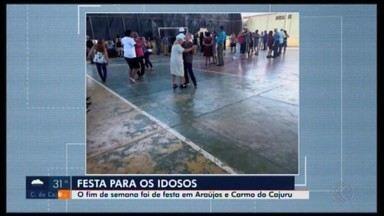 Idosos têm fim de semana especial em cidades do Centro-Oeste de MG - Internos do Lar Santo Ambrósio em Araújos visitaram uma fazenda; já em Carmo do Cajuru teve festa da terceira idade.