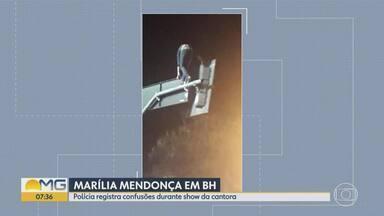 Show da cantora Marília Mendonça tem correria e confusão no Centro de BH - Antes de o show começar, um homem foi esfaqueado em um bar ao lado da Praça da Estação. Suspeito foi preso e a vítima, levada para o Hospital de Pronto-Socorro João XXIII.