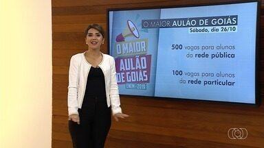 TV Anhanguera abre inscrições para aulão do Enem 2019; saiba como participa - Evento acontece no dia 26 de outubro, no Teatro Sesi, em Goiânia. Inscrições podem ser realizadas até o dia 15 por meio da troca de 2kg de alimentos não perecíveis.