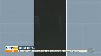 'Até Quando?': moradores reclamam de rua sem iluminação em Sumaré - Rua Noel Rosa, no Parque Virgílio Viel, está sem iluminação e preocupa quem precisa passar pelo local.