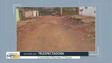 VC no MG: Confira os vídeos enviados pelos telespectadores - Moradora do Bairro Carmelo reclama da falta de pavimentação na Rua Lagoa dos Bagres.