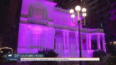 Outubro Rosa tem ações especiais em prol da prevenção do câncer de mama - Diversos prédios da Baixada Santista estão iluminados na cor rosa.